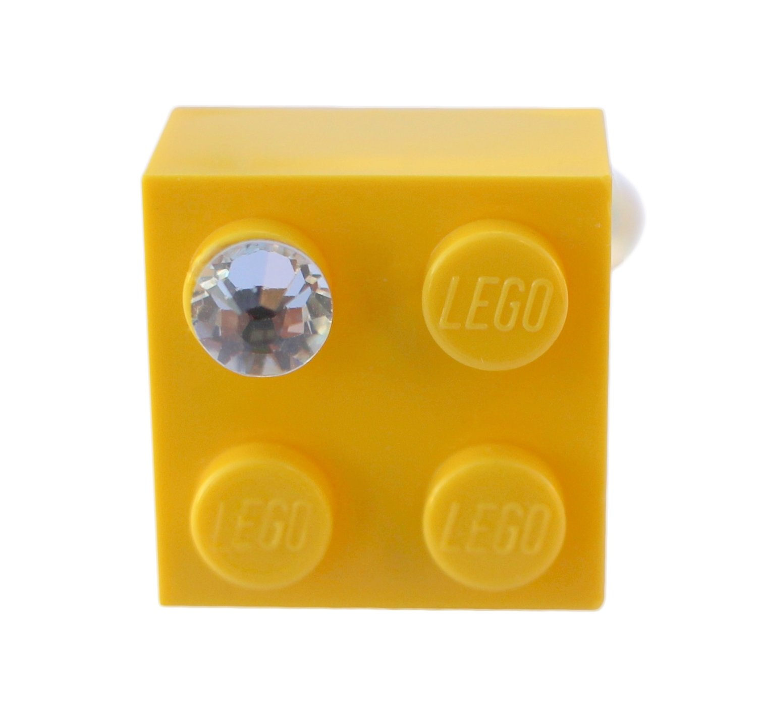 ​Yellow LEGO® brick 2x2 with a 'Diamond' color SWAROVSKI® crystal on a Silver plated adjustable ring finding​