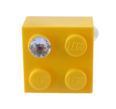 Yellow LEGO® brick 2x2 with a 'Diamond' color SWAROVSKI® crystal on a Silver plated adjustable ring finding
