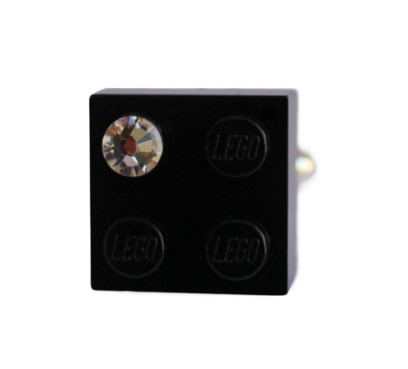 ​Black LEGO® brick 2x2 with a 'Diamond' color SWAROVSKI® crystal on a Silver plated adjustable ring ​finding