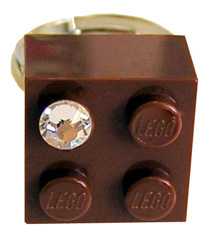Brown LEGO® brick 2x2 with a 'Diamond' color SWAROVSKI® crystal on a Silver plated adjustable ring finding