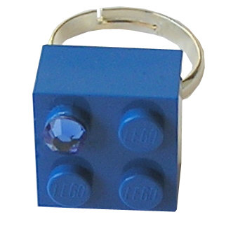 ​Dark Blue LEGO® brick 2x2 with a Blue SWAROVSKI® crystal on a Silver plated adjustable ring ​finding