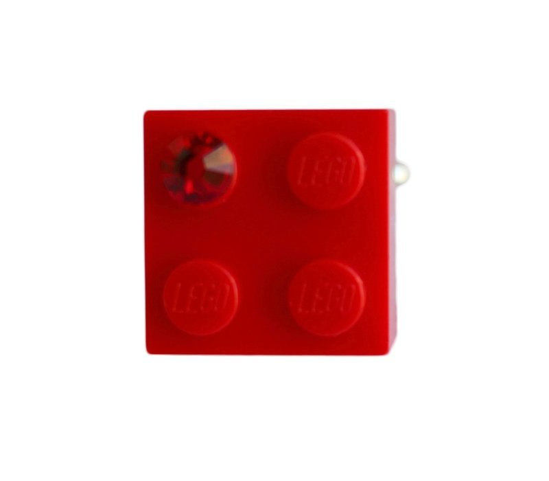 ​Red LEGO® brick 2x2 with a Red SWAROVSKI® crystal on a Silver plated adjustable ring ​finding