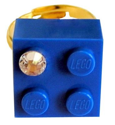 Dark Blue LEGO® brick 2x2 with a 'Diamond' color SWAROVSKI® crystal on a Gold plated adjustable ring finding