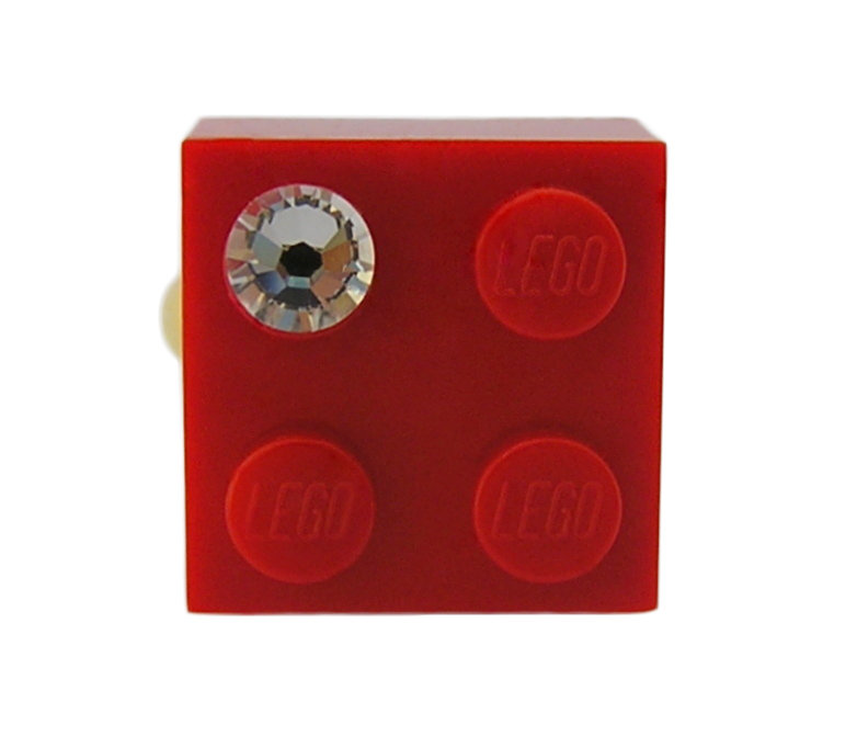 ​Red LEGO® brick 2x2 with a 'Diamond' color SWAROVSKI® crystal on a Gold plated adjustable ring finding