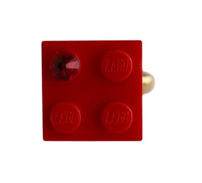 Red LEGO® brick 2x2 with a Red SWAROVSKI® crystal on a Gold plated adjustable ring finding