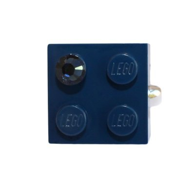 Navy Blue LEGO® brick 2x2 with a Blue SWAROVSKI® crystal on a Silver plated adjustable ring finding