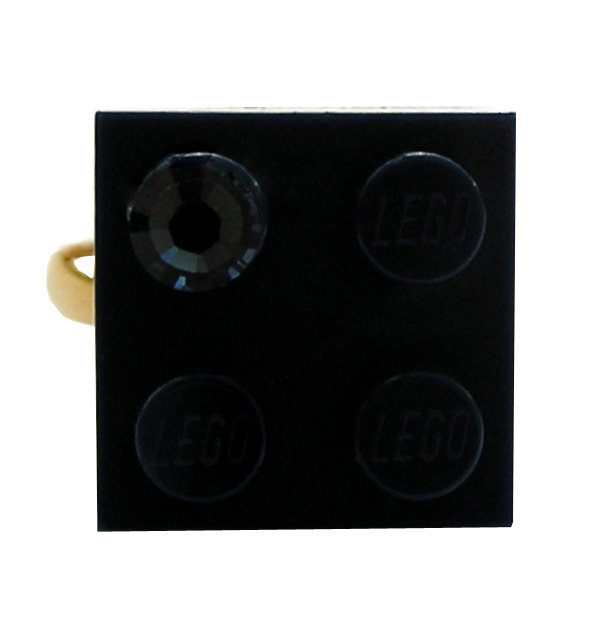 Navy Blue LEGO® brick 2x2 with a Blue SWAROVSKI® crystal on a Gold plated adjustable ring finding​