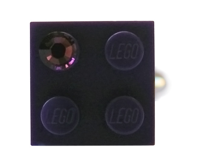 Purple LEGO® brick 2x2 with a Purple SWAROVSKI® crystal on a Silver plated adjustable ring finding
