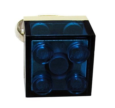 Transparent Blue LEGO® brick 2x2 on a Silver plated adjustable ring finding