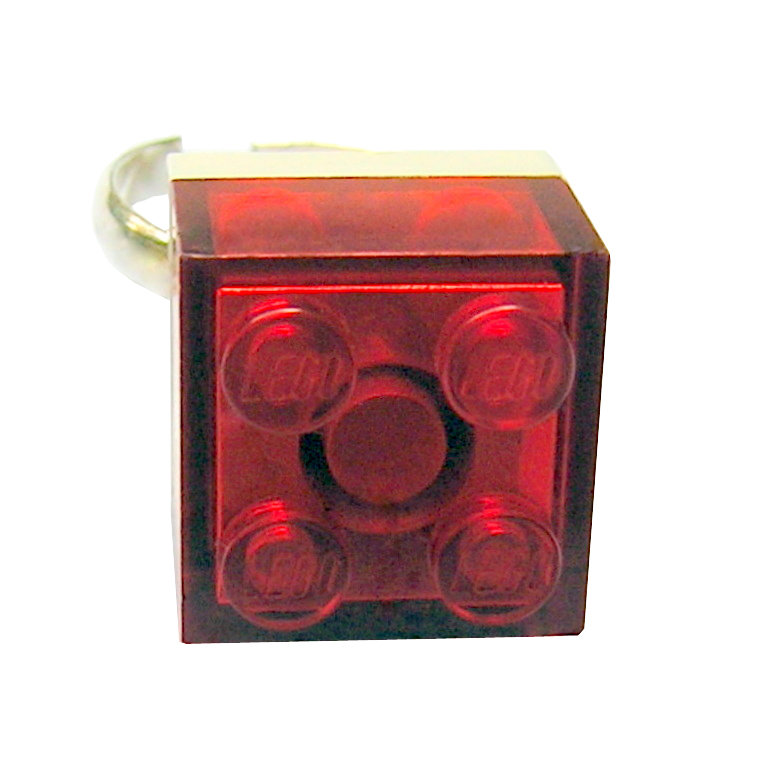 Transparent Red LEGO® brick 2x2 on a Silver plated adjustable ring finding
