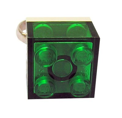 Transparent Green LEGO® brick 2x2 on a Silver plated adjustable ring finding
