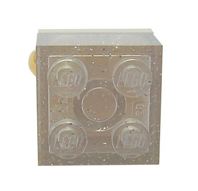 Glitter Transparent Clear LEGO® brick 2x2 on a Gold plated adjustable ring finding