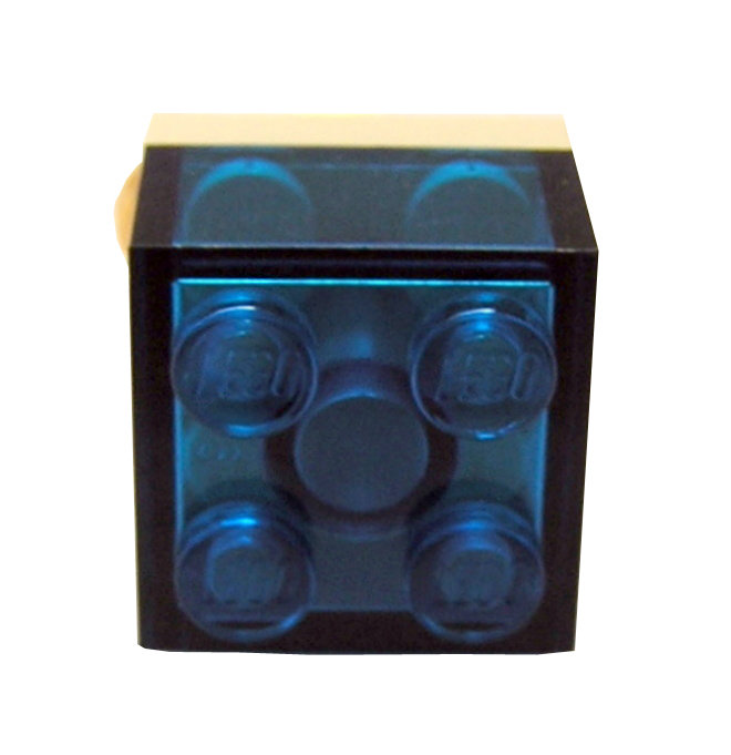 Transparent Blue LEGO®  brick 2x2 on a Gold plated adjustable ring finding
