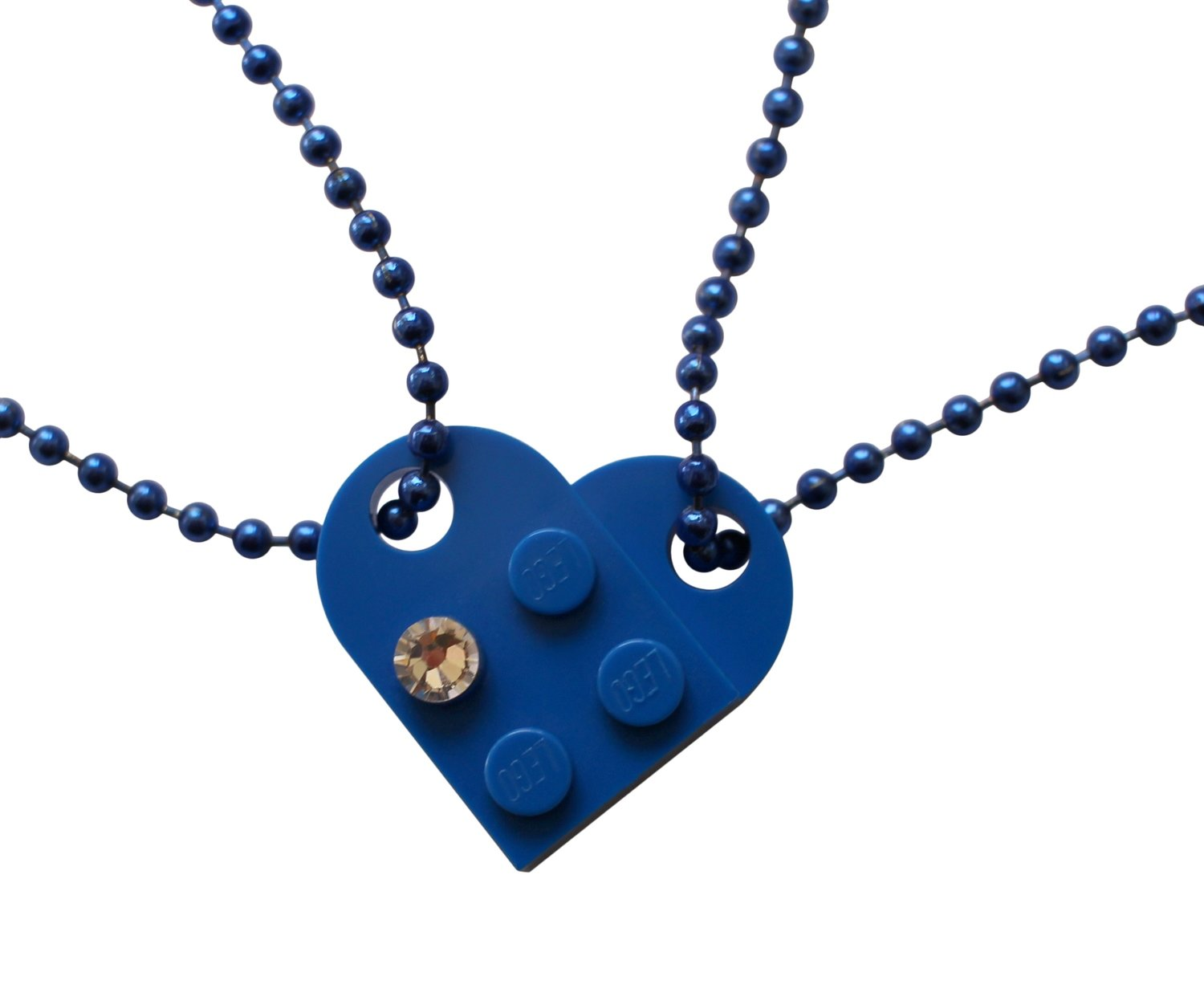Dark Blue 2 piece customizable LEGO® heart made from 2 LEGO® plates with a 'Diamond' color SWAROVSKI® crystal on 2 Blue ballchains