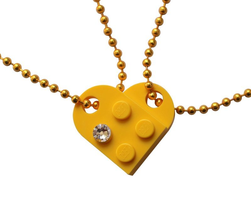 Yellow 2 piece customizable LEGO® heart made from 2 LEGO® plates with a 'Diamond' color SWAROVSKI® crystal on 2 Yellow ballchains