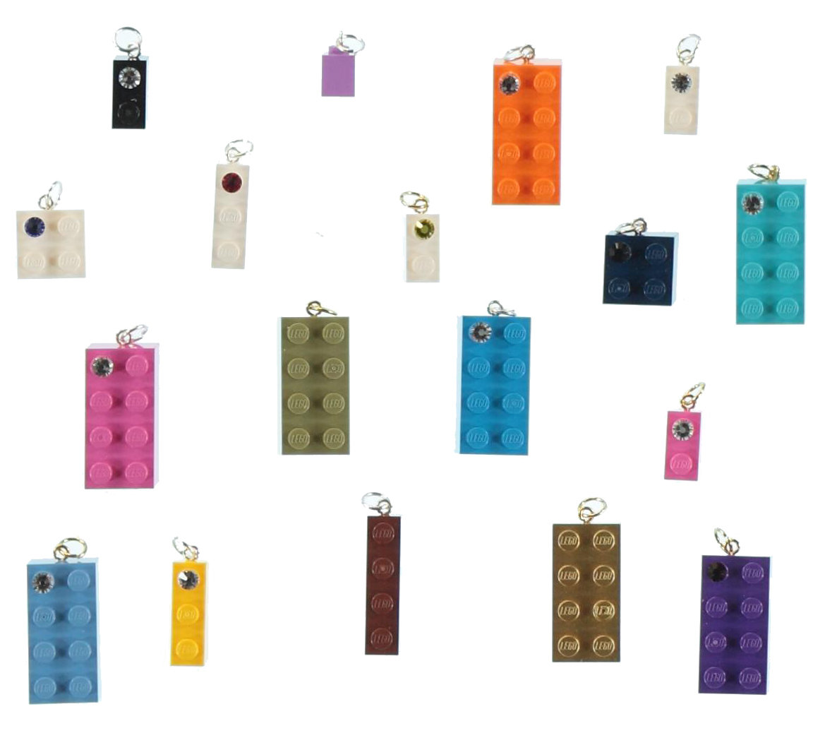 Lot kit DIY of 30 beads-charms made from LEGO® brick/SWAROVSKI® crystal