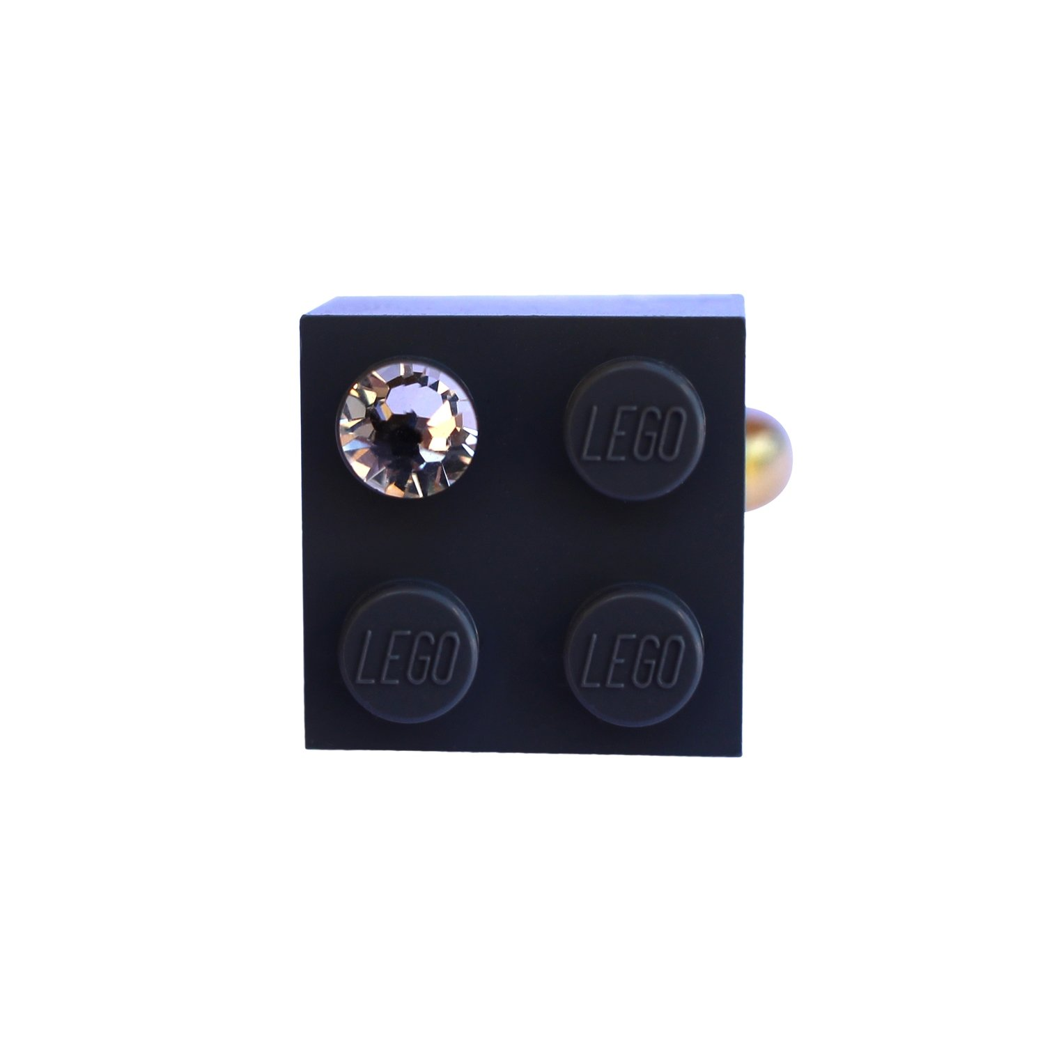 Gray LEGO® brick 2x2 with a 'Diamond' color SWAROVSKI® crystal on a Gold plated adjustable ring finding