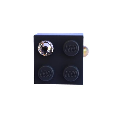 Gray LEGO® brick 2x2 with a 'Diamond' color SWAROVSKI® crystal on a Gold plated adjustable ring finding​