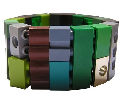 Collectible bracelet Model 18 - made from LEGO® bricks on stretchy cords - CAMOUFLAGE
