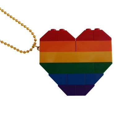 "Collectible heart pendant (Double thickness) Model 1 - made from LEGO® bricks on a 24"" Gold plated ballchain - RAINBOW"