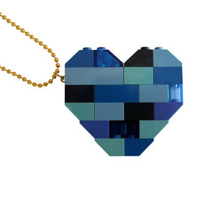 "​Collectible heart pendant (Double thickness) Model 3 - made from LEGO® bricks on a 24"" Gold plated ballchain - NAVY"