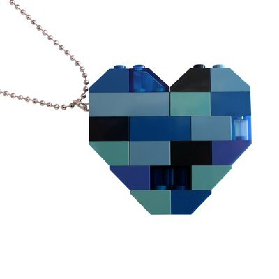 "​​Collectible heart pendant (Double thickness) Model 3 - made from LEGO® bricks on a 24"" Silver plated ballchain - NAVY"