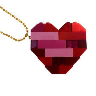 "​Collectible heart pendant (Double thickness) Model 2 - made from LEGO® bricks on a 24"" Gold plated ballchain"