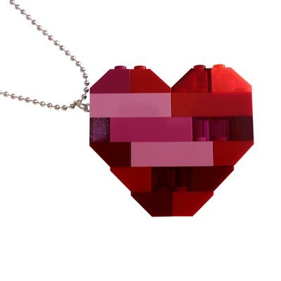 "​Collectible heart pendant (Double thickness) Model 2 - made from LEGO® bricks on a 24"" Silver plated ballchain"