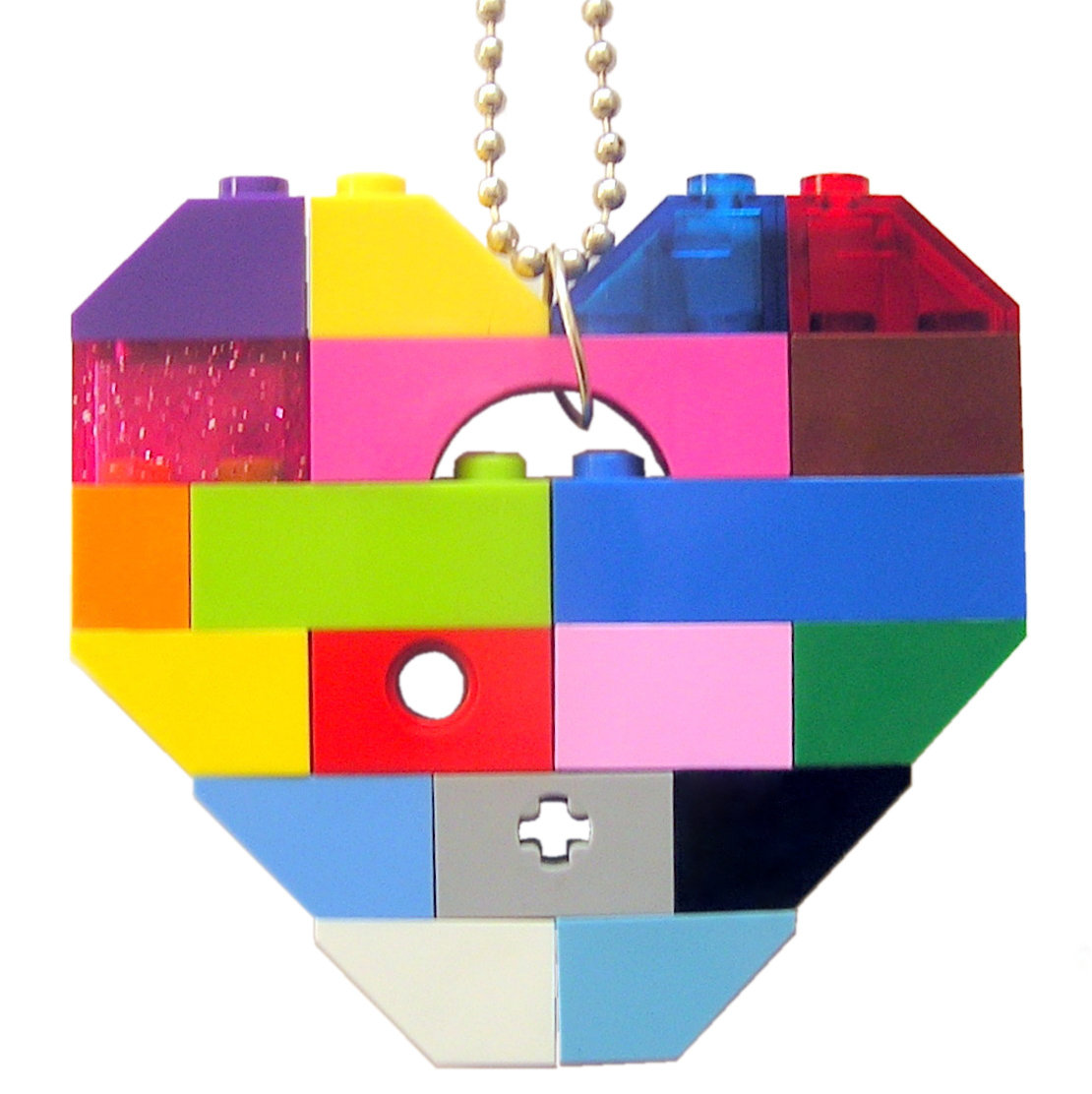 "Collectible heart pendant (Single thickness) Model 2 - made from LEGO® bricks on a 24"" Silver plated ballchain - COLORFUL"