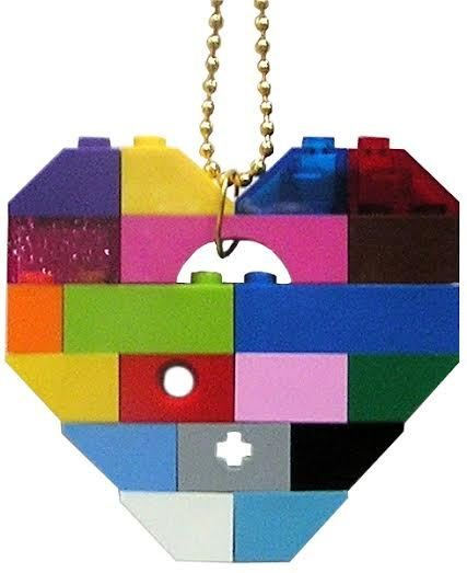"Collectible heart pendant (Single thickness) Model 2 - made from LEGO® bricks on a 24"" Gold plated ballchain - COLORFUL"