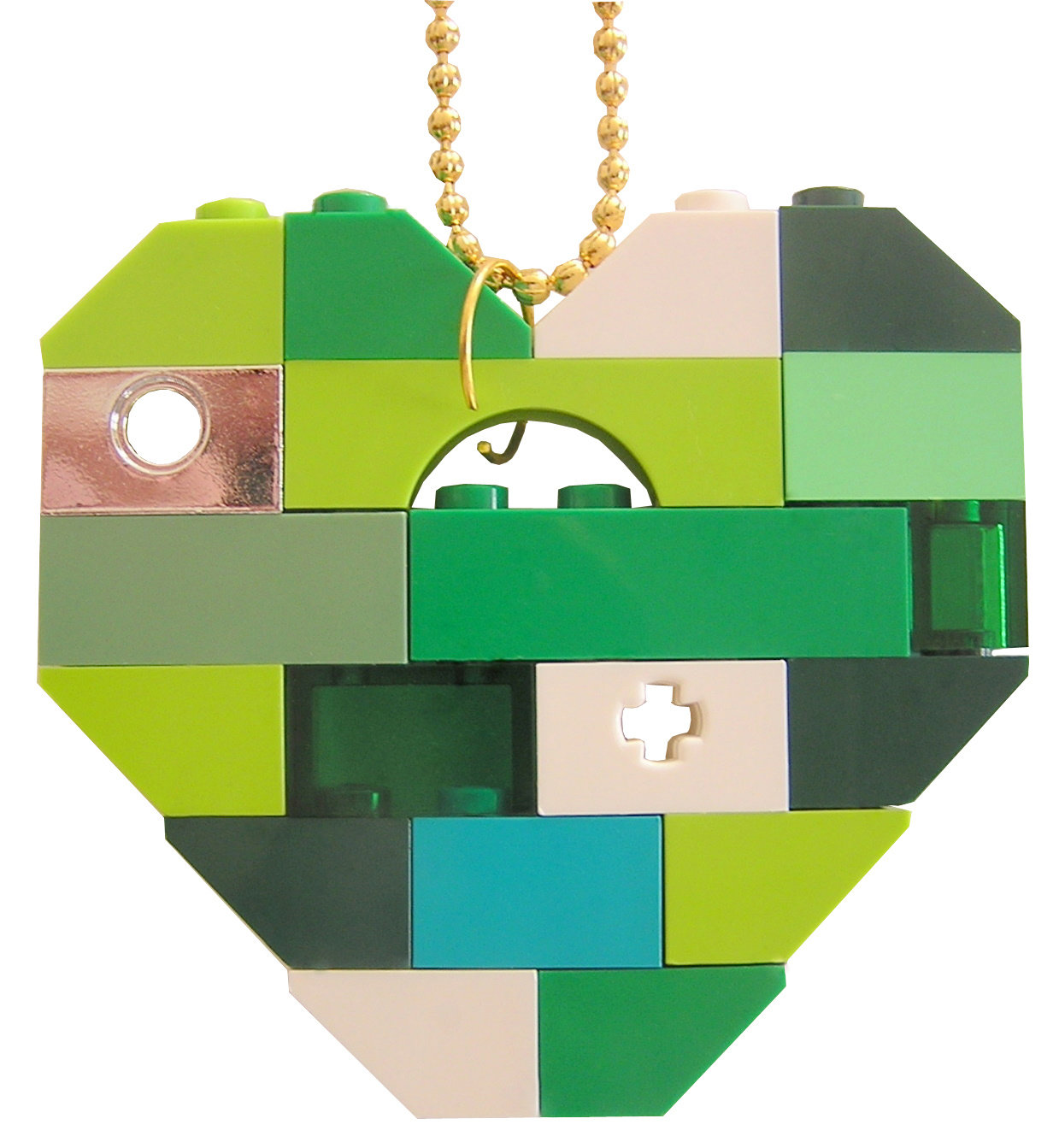 "​Collectible heart pendant (Single thickness) Model 3 - made from LEGO® bricks on a 24"" Gold plated ballchain - LUCK - SAINT PATRICK'S DAY"