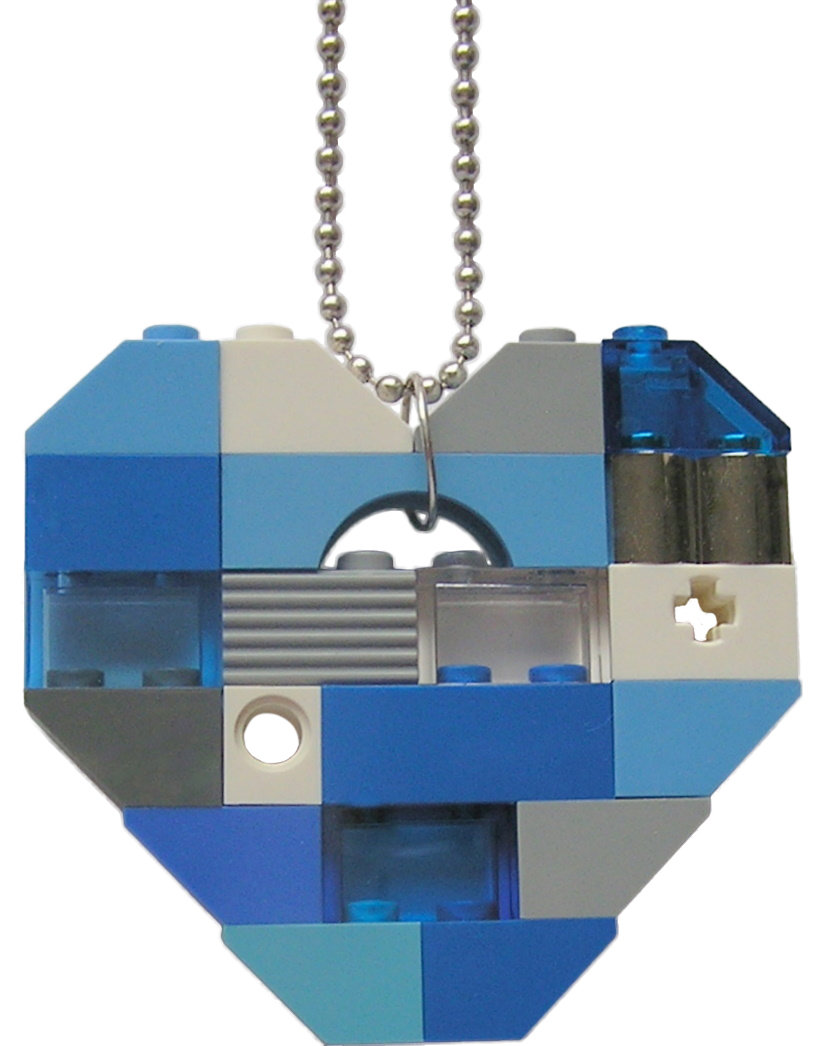 "Collectible heart pendant (Single thickness) Model 4 - made from LEGO® bricks on a 24"" Silver plated ballchain - NAVY"