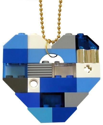 "​Collectible heart pendant (Single thickness) Model 4 - made from LEGO® bricks on a 24"" Gold plated ballchain - NAVY"