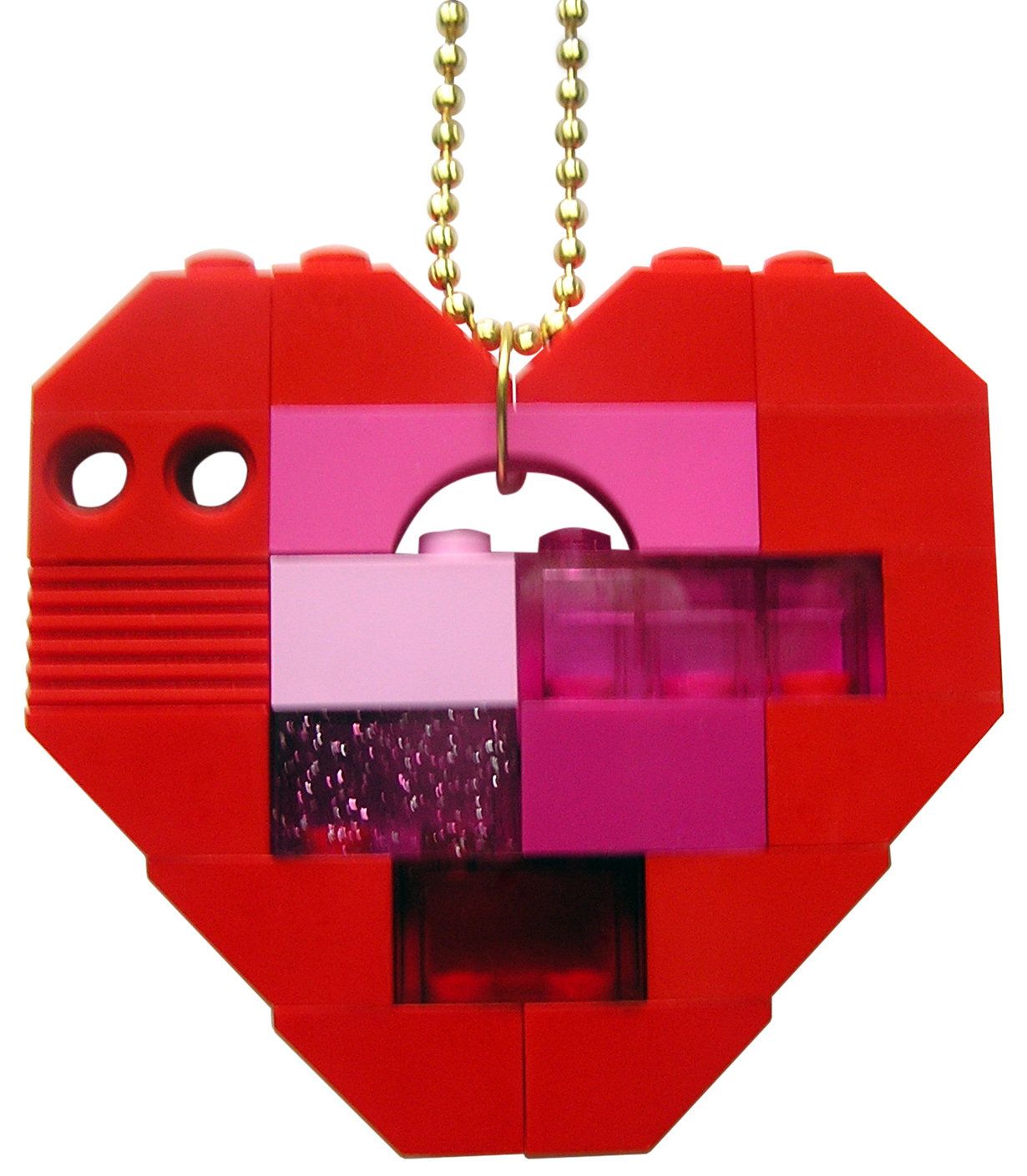 "​Collectible heart pendant (Single thickness) Model 5 - made from LEGO® bricks on a 24"" Gold plated ballchain"