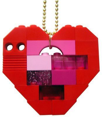 Collectible heart pendant (Single thickness) Model 5 - made from LEGO® bricks on a 24