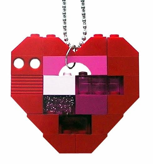"Collectible heart pendant (Single thickness) Model 5 - made from LEGO® bricks on a 24"" Silver plated ballchain"
