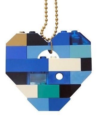 Collectible heart pendant (Single thickness) Model 6 - made from LEGO® bricks on a 24