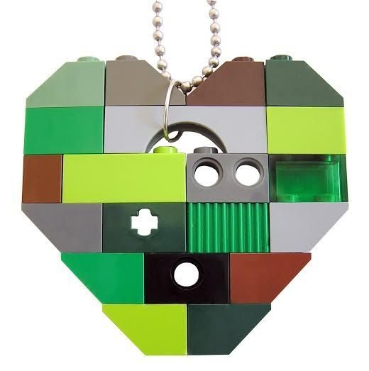 "​Collectible heart pendant (Single thickness) Model 8 - made from LEGO® bricks on a 24"" Silver plated ballchain - CAMOUFLAGE"