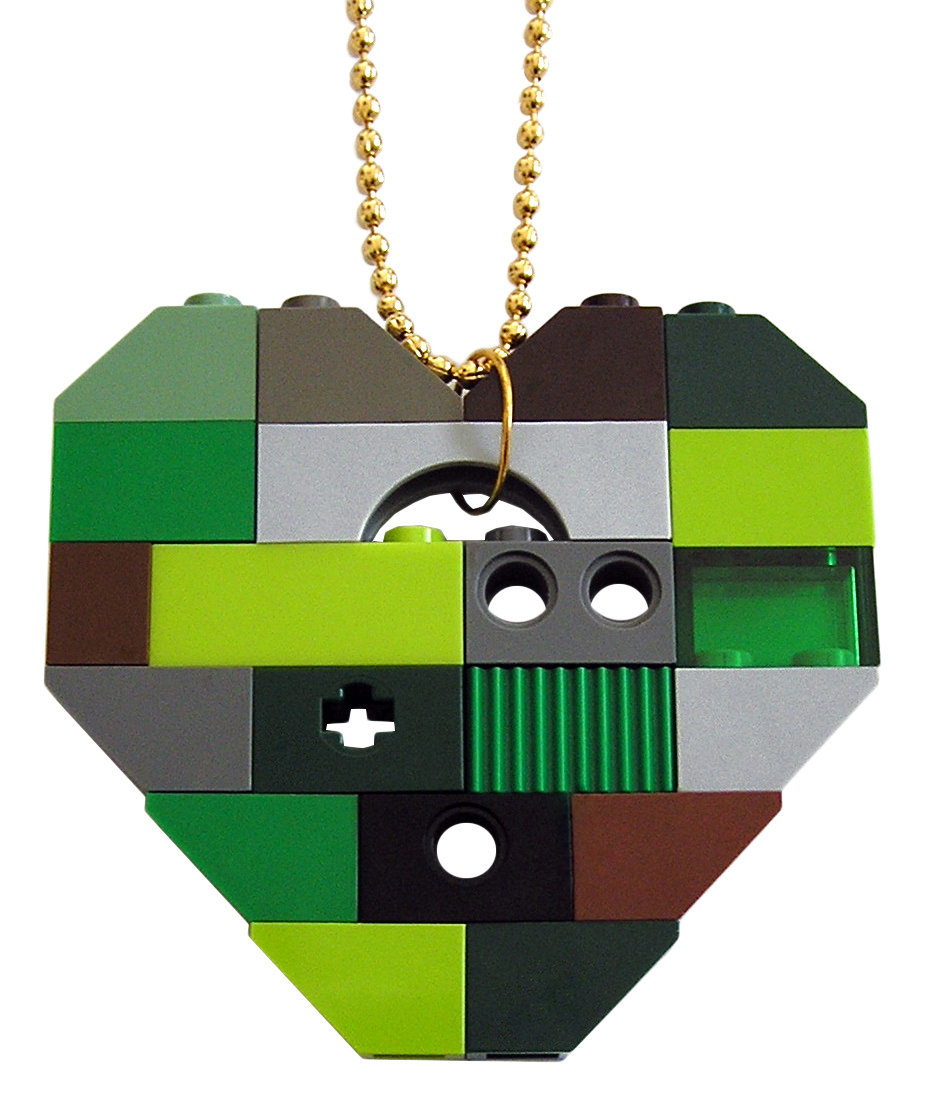 """Collectible heart pendant (Single thickness) Model 8 - made from LEGO® bricks on a 24"""" Gold plated ballchain - CAMOUFLAGE"""