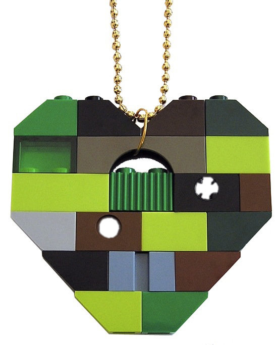 """Collectible heart pendant (Single thickness) Model 9 - made from LEGO® bricks on a 24"""" Gold plated ballchain - CAMOUFLAGE"""