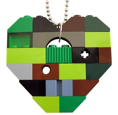 Collectible heart pendant (Single thickness) Model 9 - made from LEGO® bricks on a 24