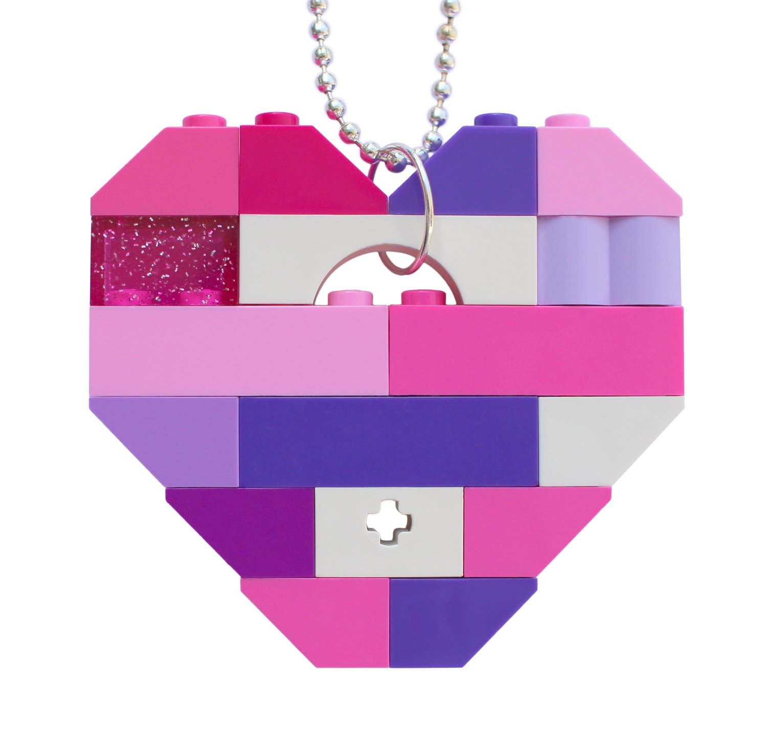 "​Collectible heart pendant (Single thickness) Model 10 - made from LEGO® bricks on a 24"" Silver plated ballchain - KAWAII PINK & PURPLE"
