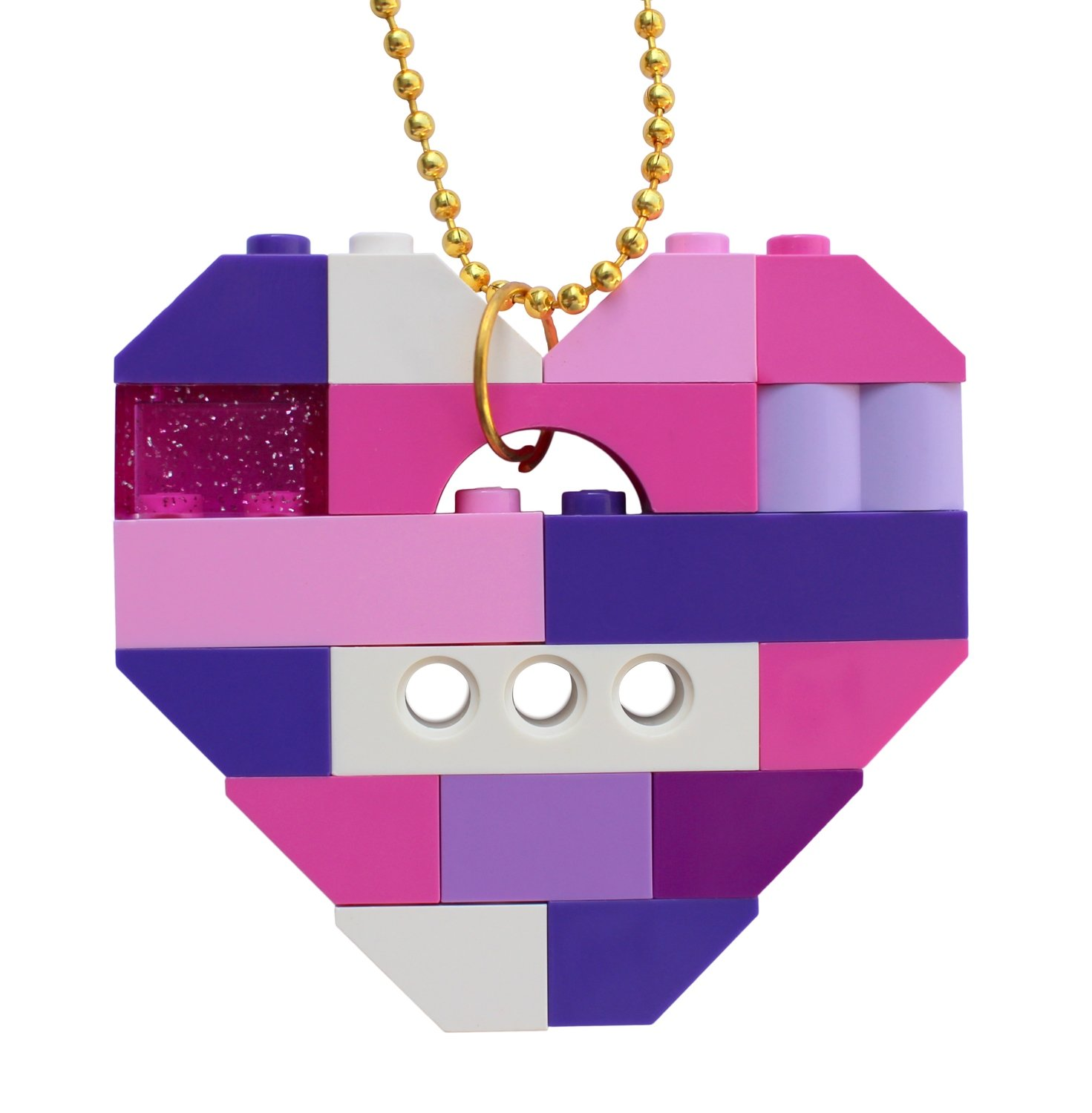 "​Collectible heart pendant (Single thickness) Model 12 - made from LEGO® bricks on a 24"" Gold plated ballchain - KAWAII PINK & PURPLE"