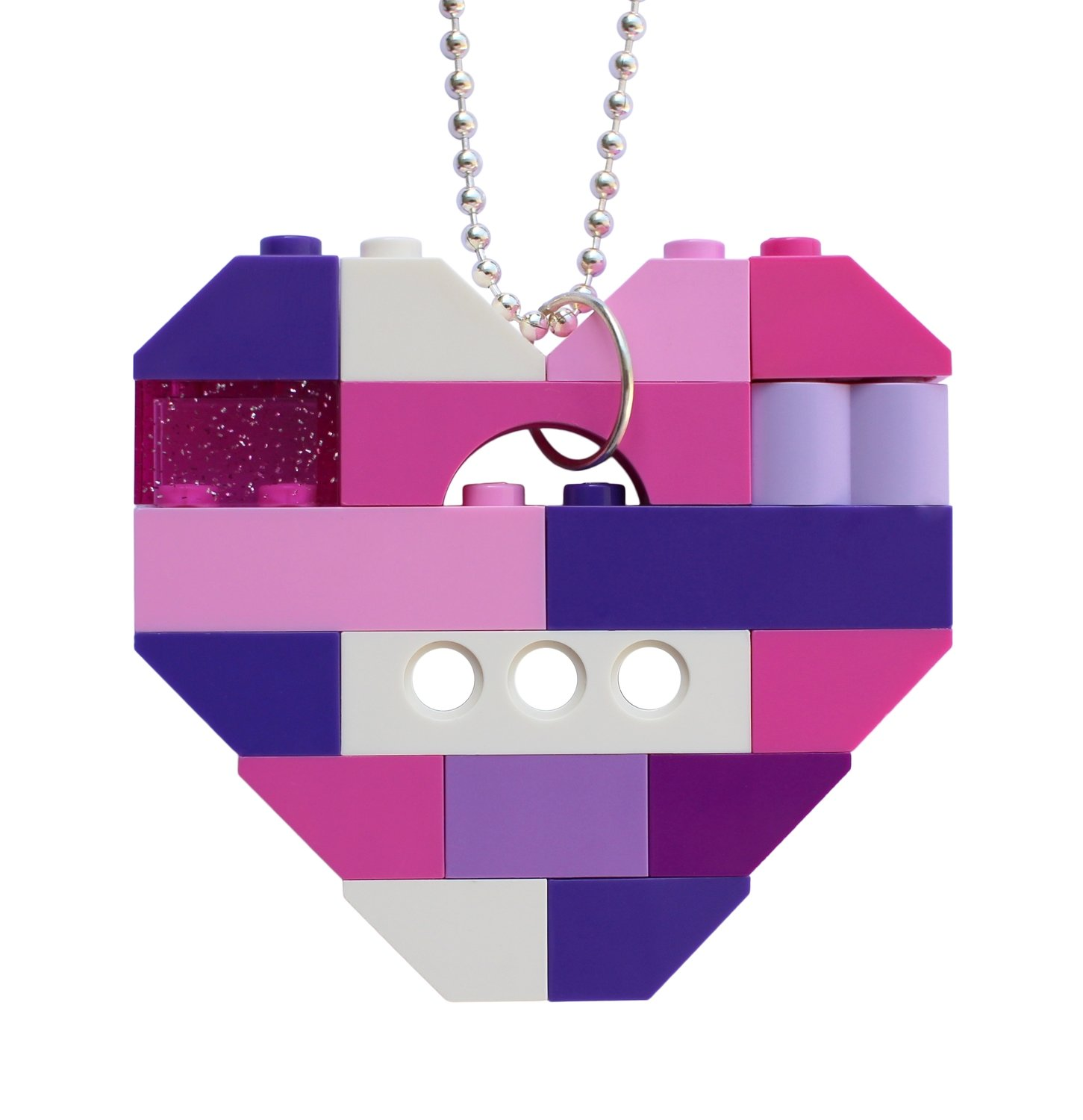 "​Collectible heart pendant (Single thickness) Model 12 - made from LEGO® bricks on a 24"" Silver plated ballchain - KAWAII PINK & PURPLE"