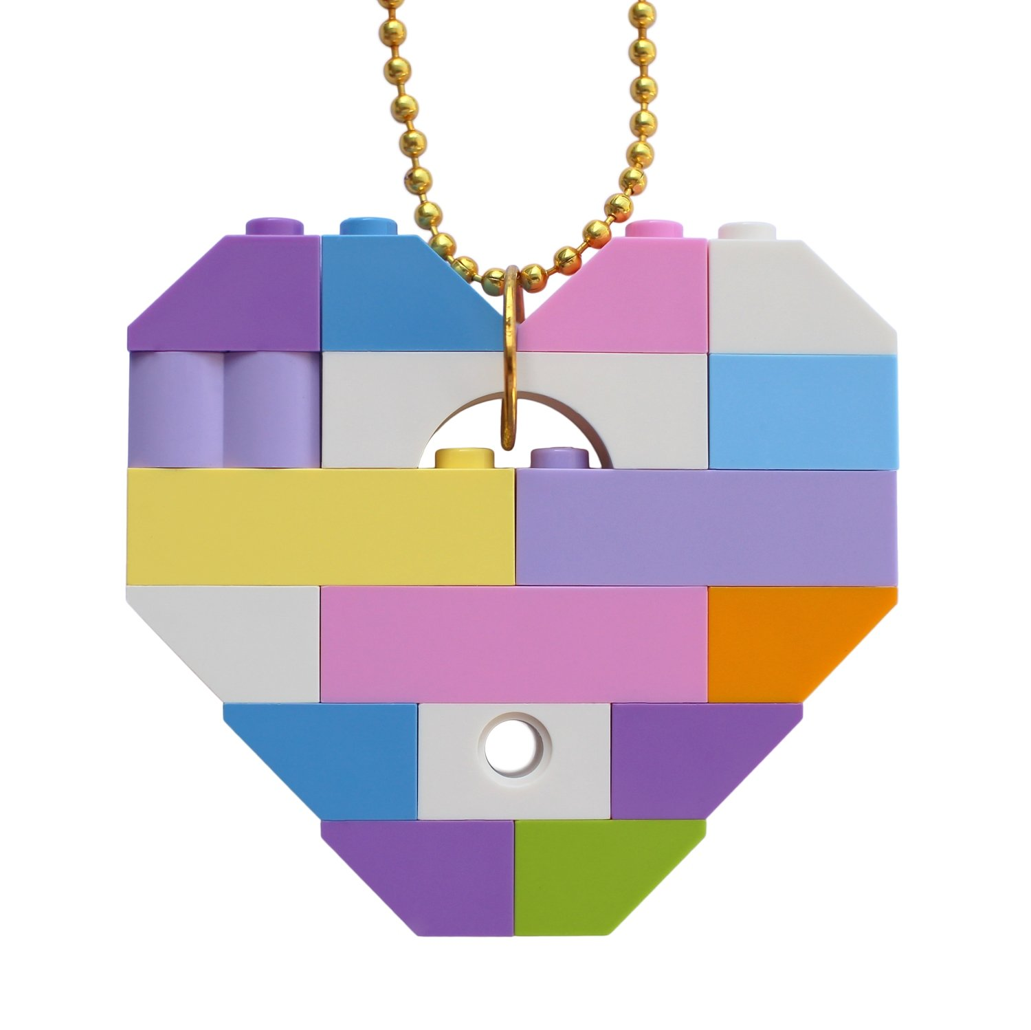 "​Collectible heart pendant (Single thickness) Model 11 - made from LEGO® bricks on a 24"" Gold plated ballchain - KAWAII PASTEL"