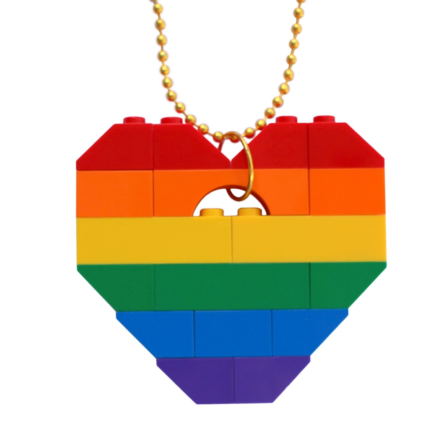 "​Collectible heart pendant (Single thickness) Model 13 - made from LEGO® bricks on a 24"" Gold plated ballchain - RAINBOW"