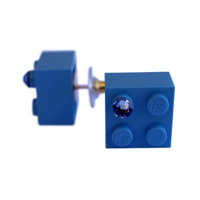 ​Light Blue LEGO® brick 2x2 with a Blue SWAROVSKI® crystal on a Gold plated stud/silicone back stopper