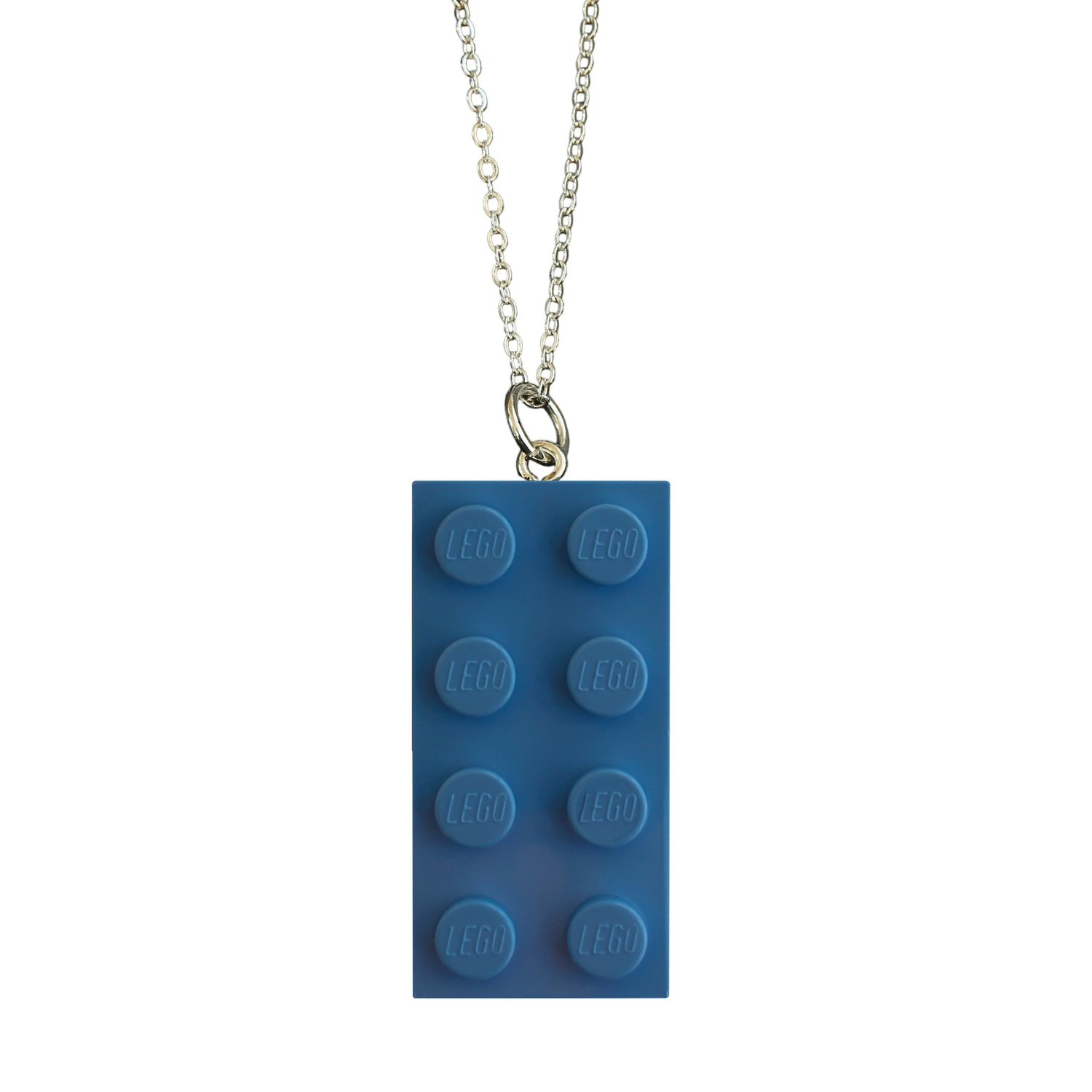 "​Light Blue LEGO® brick 2x4 on a Silver plated trace chain (18"" or 24"")"