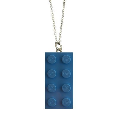 ​Light Blue LEGO® brick 2x4 on a Silver plated trace chain (18