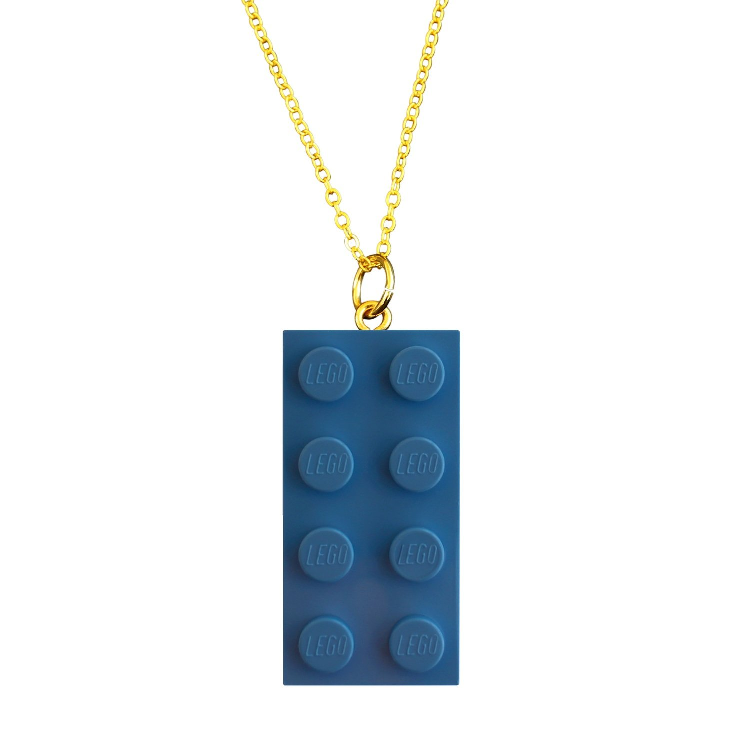 "Light Blue LEGO® brick 2x4 on a Gold plated trace chain (18"" or 24"")"